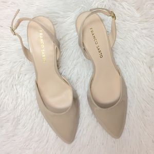 Franco Sarto Beige Slip On Patent Leather Heels
